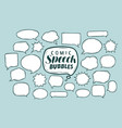 set comic speech bubbles doodle sketch vector image