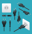 set od plugs and sockets type c used in europe vector image vector image