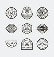 set of vintage locksmith logos retro styled key vector image vector image