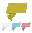 set origami banner and speech bubbles vector image