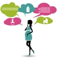 Silhouette of a pregnant woman with speech bubbles vector image vector image