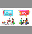 special offer with 50 off for family shopping vector image vector image