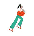 stylized woman running with smile at face vector image vector image