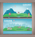 suburban landscape cityscape template with vector image