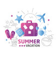 summer flat lines vector image