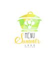 summer menu logo element for vegetarian vector image vector image