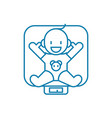swaddling a child linear icon concept swaddling a vector image