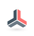 triple arrow triangle abstract 3d isometric logo vector image vector image