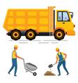 truck and wheelbarrow worker digging auto vector image vector image