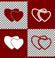two hearts sign bordo and white icons and vector image vector image