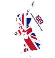 united kingdom flag map on white background vector image