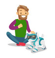 white man playing with dog robot vector image
