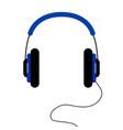 wired blue headphones - flat design vector image vector image