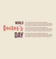 world doctor day banner style vector image vector image