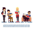 teenagers and students with books isolated on vector image