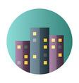 Urban city flat circle icon vector image