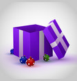purple gift box with cristmas toy vector image