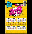 2019 retro super hero calendar pop art vector image vector image