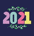 2021 happy new year stripes number and mistletoe vector image vector image