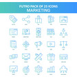 25 green and blue futuro marketing icon pack vector image vector image