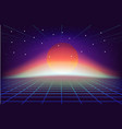 80s retro sci-fi background with sun vector image vector image