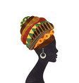 african woman turban profile silhouette isolated vector image