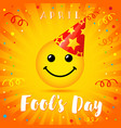 april fools day smile in party hat vector image