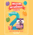 birthday invitation kids poster with owls funny vector image vector image