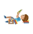 Boy Laying On The Back Reding vector image vector image