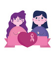 breast cancer awareness month girls with heart vector image vector image