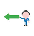 businessman character holding arrow pointing left vector image vector image