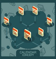 calendar color concept isometric icons vector image