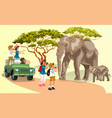 cartoon happy adults travel on car in wildlife vector image