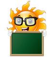cartoon sun character holding a chalkboard vector image