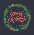 christmas greeting card with handwritten lettering vector image