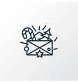 christmas letter icon line symbol premium quality vector image vector image