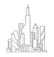 city future hand drawn sketch vector image