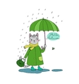 cute cartoon cat umbrella rain and puddles vector image vector image