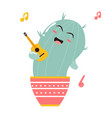 cute singing cartoon cactus vector image vector image