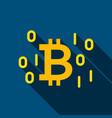 digital bitcoin flat icon vector image vector image