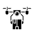 drone logistics icon black vector image