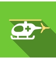 Emergency Helicopter Flat Long Shadow Square Icon vector image vector image