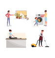 family doing housework flat set man vector image vector image