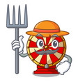 farmer spinning wheel game the mascot shape vector image vector image