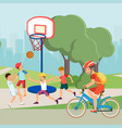flat cartoon active teenagers characters do sport vector image vector image
