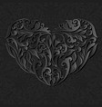 floral black heart with shadow vector image vector image