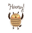 funny owl yells hooray in vector image vector image