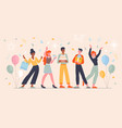 group five diverse happy friends celebrating vector image vector image
