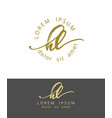 h l handdrawn brush monogram calligraphy logo vector image vector image