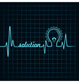 heartbeat make solution word and light-bulb vector image vector image